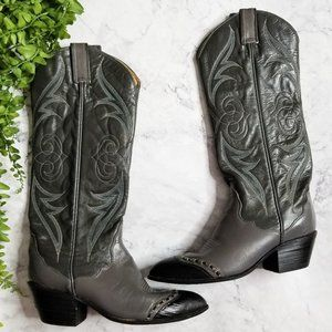 Tony Lama | Gray Embroidered Cap Toe Cowgirl Boots